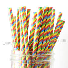 Rainbow Paper Straws Colored Rainbow Striped Paper Straws 500pcs