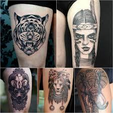 большие татуировки на бедре для девушек тату на ляжке плюсы и минусы