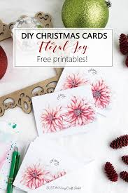 Free Holiday Photo Greeting Cards Free Printable Diy Christmas Cards Floral Joy Sustain My