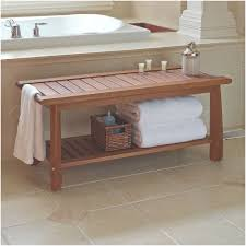 Bathroom Bench Awesome the Brazilian Eucalyptus Bathroom Bench Hammacher  Schlemmer