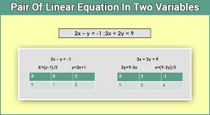 linear equation pair of linear equation in two variables