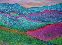 oil pastels painting smoky mountain abstract by nancy mueller