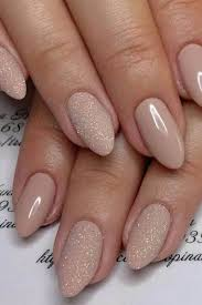 1 beige oval and glitter acrylic nails mixture