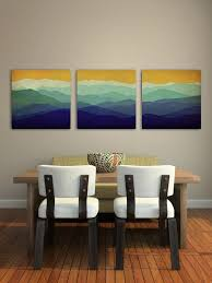 mountain memories illustration triptych smoky green mountains stretched canvas 3 16x16x1 5 ready to hang wall art on 3 piece wall art mountains with mountain memories colors purple illustration diptych smoky green