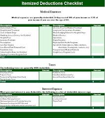 Itemized List Of Expenses Template Itemized Deduction Templates 2 Printable Word Pdf