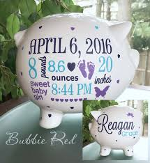 personalized piggy bank custom baby birth stats gift baby piggy bank