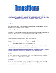 what are good transition words co what