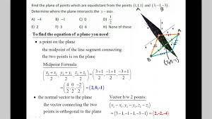 equation of plane equidistant bewtween two points