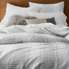 belgian flax linen ikat stripe duvet cover twin frost gray