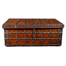 decorative large antique anglo indian trunk coffee table