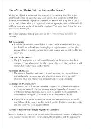 Good Professional Statement For Resume Goal Project Management