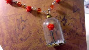 picture of diy enchanted rose necklace beauty and the beast inspired craft