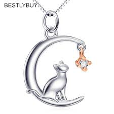 bestly fashion cat moon pendant necklace charm 925 sterling silver link chain necklace for pet lucky