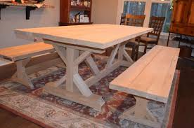 Trestle table with bench Farm Trestle Table ana White Plans More Pinterest Our Fancy Smancy Farmhouse Table With Matching Benches Tables