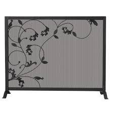black wrought iron single panel fireplace screen