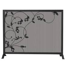 black wrought iron single panel fireplace screen with flowing leaf design
