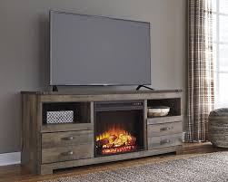 replicated oak grain takes the look of rustic reclaimed wood on this large tv stand with