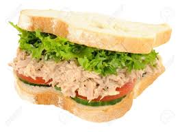 Tuna And Salad Filled Sandwich In Thick White Sliced Bread Isolated