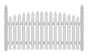 Spaced Picket 2 12 in Convex French Gothic Academy Fence