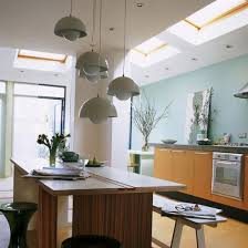 kitchen diner lighting. Kitchen With Blue Feature Wall, Skylights, Island Units And Pendant Lighting Diner Ideal Home