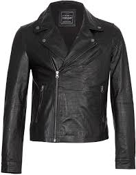 topman black croc skin pattern leather biker jacket