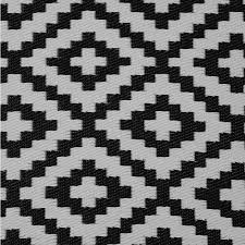 geometric patterns pixel outdoor rug in black white front close up