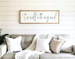 living room sign it is well with my soul wood sign living room wall decor living room wall art wood sign large 16 5 x 49  on living room wall art images with living room wall art etsy