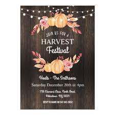 Fall Harvest Festival Pumpkin Wood Floral Invite Zazzle Com