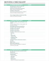 Moving Checklist Template Zumbox Co