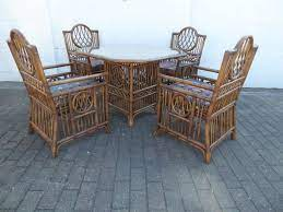 vintage bamboo dining table chairs