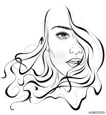 Graphic Portrait Of A Young And Cute Girl With Beautiful Curly Hair