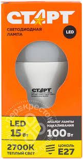 Купить <b>Лампа светодиодная</b> Старт <b>ECO LED</b> GLS E27 15Вт с ...