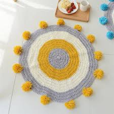 handmade round rug circle knitted pompom mat for kids play yellow grey blue area rug 80x80cm nursery room living room carpet one locations carpet services