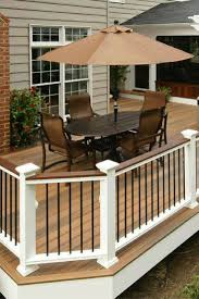 outdoor deck railings ideas. entertain your guests in style with this fiberon horizon composite deck and railing. (decking shown ipe, railing white black balusters) ( outdoor railings ideas