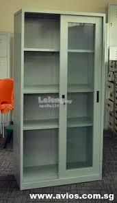 full height glass sliding door steel cupboard