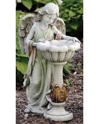 angel garden statue. 23\u0027 joseph\u0027s studio angel outdoor garden statue with solar powered bird bath, gray