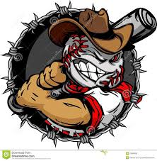 baseball face cartoon cowboy ball