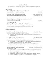 Sample Recent Graduate Resume Resume New Graduate Psychology