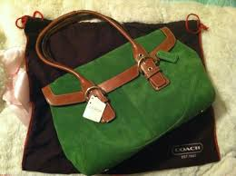 Quantity discount Coach British Tan Flap Satchel Tote Green  Beige Suede  Leather Hobo Bag ehwPhgsi
