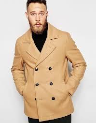 asos brand wool peacoat in camel