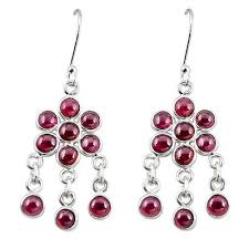 925 sterling silver natural red garnet chandelier earrings jewelry m8490