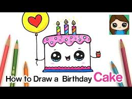 How To Draw A Cute Birthday Cake Easy Safe Videos For Kids