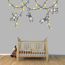amazoncom  yellow and gray monkey wall decal for baby nursery or