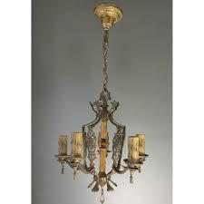 antique iron five arm polychrome ceiling light fixture