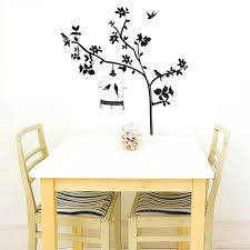 black tree branches birdcage birds wall stickers removable living home decor wall art black tree