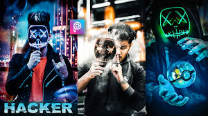 3d hacker neon mask photo editing background
