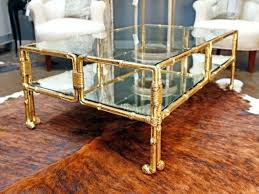 coffee table bamboo glass top and gold frame with