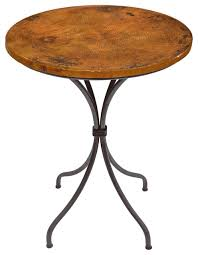 italia 36 bar table with 30 round copper top rustic indoor pub and bistro tables by mathews company