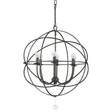 crystorama solaris 6 light bronze sphere chandelier ii