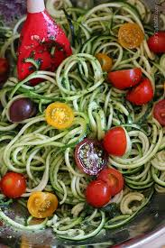 raw spiralized zucchini noodles with tomatoes and pesto is my favorite easy end of